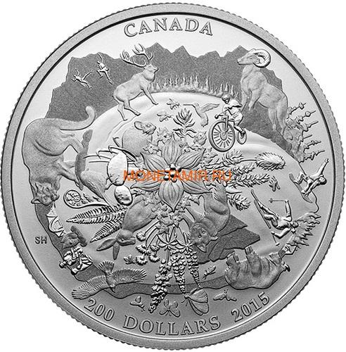 Канада 200 долларов 2015 Канадские Скалистые Горы серия Пейзажи Севера (Canada 200$ 2015 Canada's Rugged Mountains 2oz Silver Coin).Арт.60 (фото)