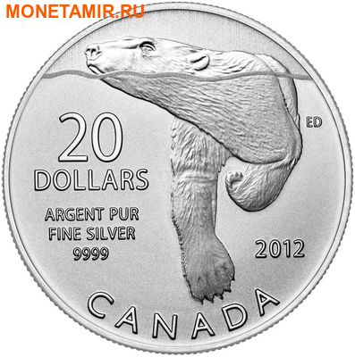 Канада 20 долларов 2012.Полярный медведь (блистер).Арт.60 (фото)