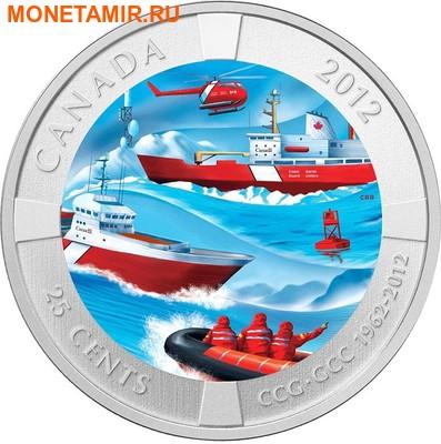 Канада 25 центов 2012 50 лет Канадской береговой охране Корабли Вертолет Маяк (Canada 25 cent 2012 Anniversary of the Canadian Coast Guard) Блистер.Арт.60 (фото)