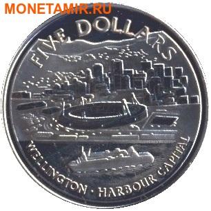 Новая Зеландия 5 долларов 1999.Веллингтон – Гавань.Корабль.(буклет).Арт.60