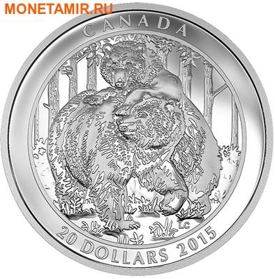 Канада 20 долларов 2015.Медведи Гризли - близость.Арт.60 (фото)