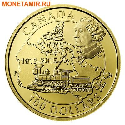 Канада 100 долларов 2015.Премьер-министр Канады Джон Макдональд - Поезд.Арт.60 (фото)