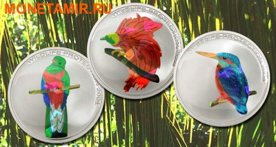 Конго 3x5 франков 2004.Птицы – Кетсаль (Quetzal) Райская птица (Bird of Paradise) Зимородок (Kingfisher) (призма).Арт.60 (фото)