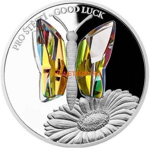 Ниуэ 5 долларов 2016 Бабочка на удачу – Кристаллы на монетах (Niue 5$ 2016 Good Luck Butterfly Czech Crystal Coins).Арт.001257451821/60 (фото)