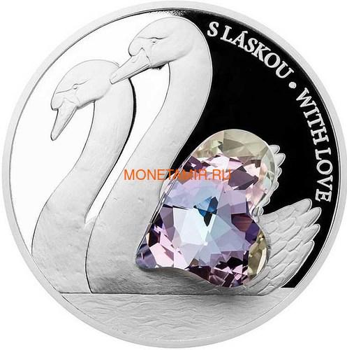 Ниуэ 5 долларов 2016.Лебеди с любовью – Кристаллы на монетах (Niue 5$ 2016 With Love Swan Czech Crystal Coins).Арт.001257451816/60 (фото)