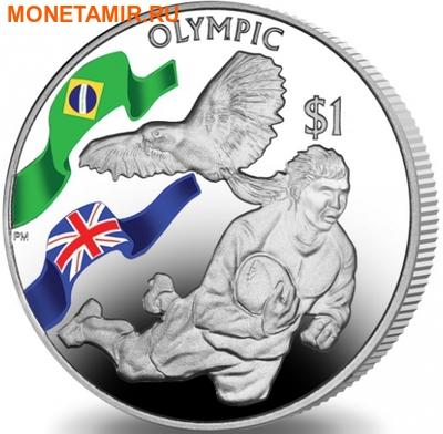 Британские Виргинские Острова 1 доллар 2016.Регби – Олимпийские Игры в Бразилии.Арт.60 (фото)