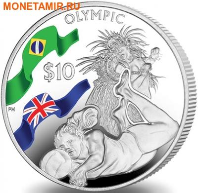 Британские Виргинские Острова 10 долларов 2016.Волейбол – Олимпийские Игры в Бразилии.Арт.60 (фото)