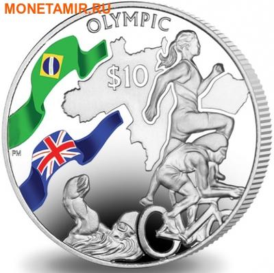 Британские Виргинские Острова 10 долларов 2016.Триатлон – Олимпийские Игры в Бразилии (велосипед бег плавание).Арт.60 (фото)
