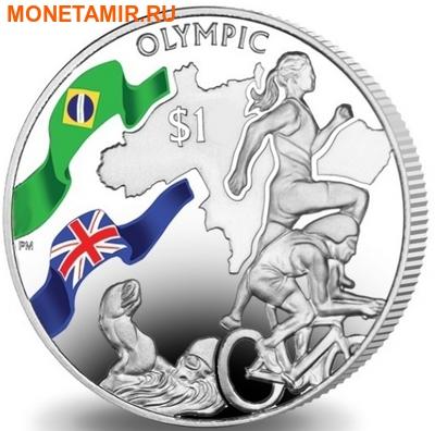 Британские Виргинские Острова 1 доллар 2016.Триатлон – Олимпийские Игры в Бразилии (велосипед бег плавание).Арт.60 (фото)