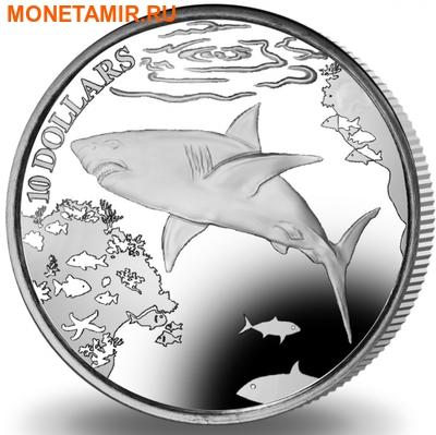 Британские Виргинские Острова 10 долларов 2016.Большая белая акула.Арт.60 (фото)