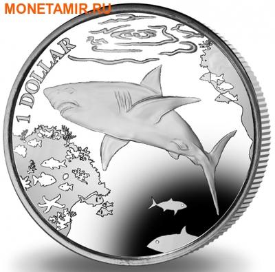 Британские Виргинские Острова 1 доллар 2016.Большая белая акула.Арт.60 (фото)