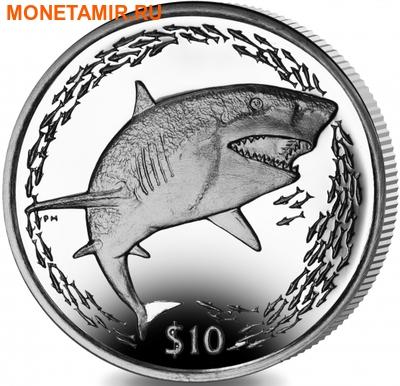 Британские Виргинские Острова 10 долларов 2016.Лимонная акула.Арт.60 (фото)
