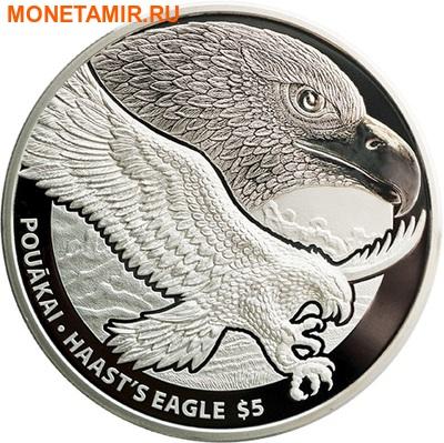 Новая Зеландия 5 долларов 2016 Орел Хааста (New Zealand 5$ 2016 Haast's Eagle 1oz Silver Coin).Арт. (фото)