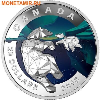 Канада 20 долларов 2016.Белый медведь – Геометрия в искусстве.Арт.60 (фото)