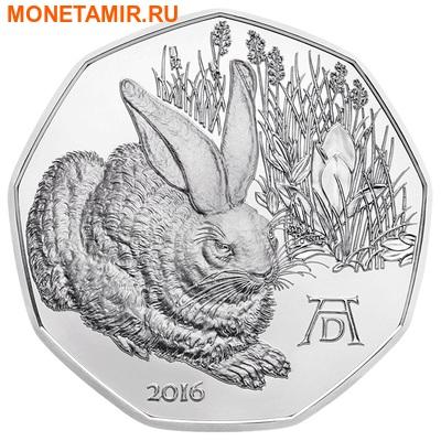 Австрия 5 евро 2016.Заяц – Альбрехт Дюрер.Арт.60 (фото)