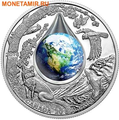 Канада 20 долларов 2016.Мать Земля – 3D капля воды.Арт.60 (фото)