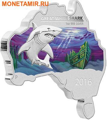 Австралия 1 доллар 2016.Большая Белая Акула серия Карта Австралии.Арт.60 (фото)