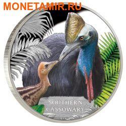 Тувалу 1 доллар 2016 Птица Южный Казуар серия Исчезающие виды.Арт.60 (фото)