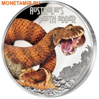 Тувалу 1 доллар 2016 Гадюка серия Смертельно Опасные (Tuvalu 1$ 2016 Deadly and Dangerous Death Adder 1oz Silver Coin).Арт.000421252456/92 (фото)