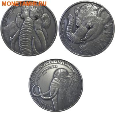 Буркина Фасо 2х1000 франков + медаль 2015.Мамонт – Детенышь мамонта (эффект реальных глаз).Арт.60