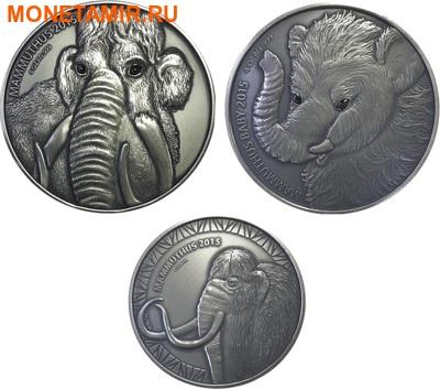 Буркина Фасо 2х5000 франков + медаль 2015.Мамонт – Детенышь мамонта (эффект реальных глаз).Арт.60 (фото)