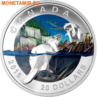 Канада 20 долларов 2016.Бобер – Геометрия в искусстве.Арт.60 (фото)
