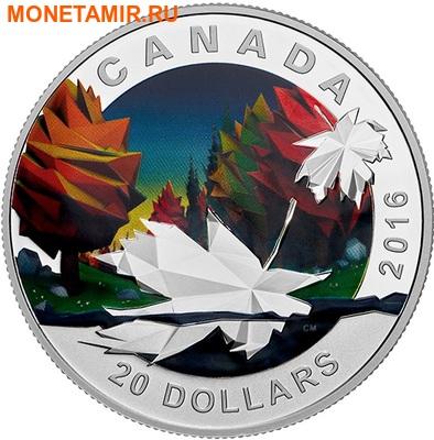 Канада 20 долларов 2016.Кленовый лист – Геометрия в искусстве.Арт.60 (фото)