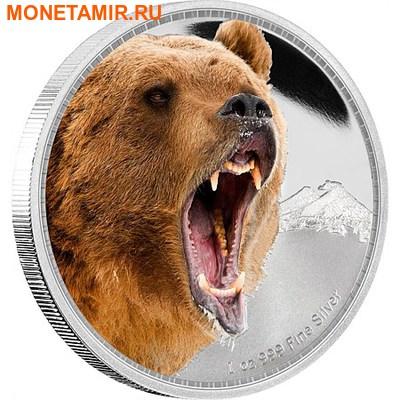 Ниуэ 2 доллара 2016.Медведь Гризли серия Короли Континентов.Арт.60 (фото)