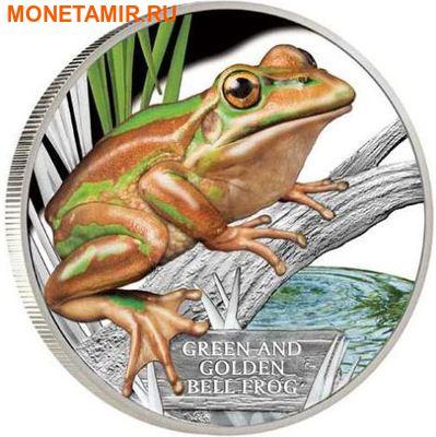 Тувалу 1 доллар 2017 Зелено-Золотистая Лягушка (Green and Golden Bell Frog) – Исчезающие виды.Арт.60 (фото)