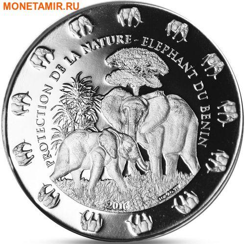Бенин 1000 франков 2016.Слон с детенышем серия Охрана природы.Арт.60 (фото)
