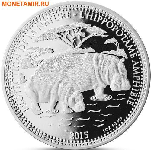 Чад 1000 франков 2015.Бегемот с детенышем.Арт.60 (фото)