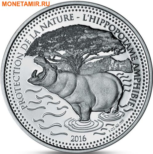 Чад 1000 франков 2016.Бегемот.Арт.60 (фото)