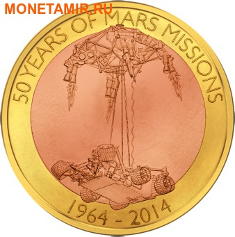 Самоа 1 доллар 2014.50 лет миссии на Марс.Космос.Летающая монета.(50 Years of Mars Mission).Арт.60