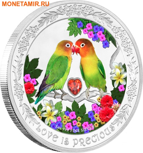 Ниуэ 2 доллара 2017.Любовь – Попугаи (сердце цирконий).Арт.60 (фото)