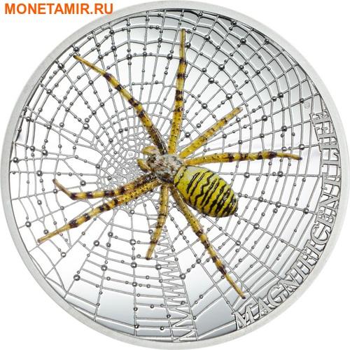 Острова Кука 5 долларов 2016 Паук-оса Великолепная жизнь (Cook Isl 5$ 2016 Magnificent Life Wasp Spider 1Oz 999 Silver).Арт.My/60 (фото)