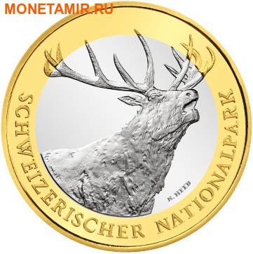 Швейцария 10 франков 2009.Олень (Red deer) – Швейцарский национальный парк.Арт.60 (фото)