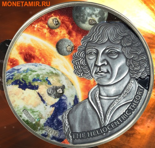 Буркина Фасо 5000 франков 2016.Коперник – четыре метеорита Луна Марс Меркурий Веста – тектит Молдавит.Арт.60 (фото)