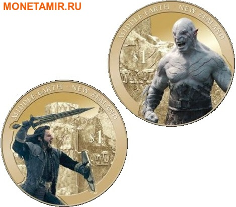 Новая Зеландия 1+1 доллар 2014.Хоббит: Битва Торина и Азога – Битва пяти воинств.(Блистер).Арт.60 (фото)