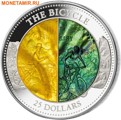 Острова Кука 25 долларов 2017 Велосипед 200 лет Перламутр (Cook Isl 2017 25$ The Bicycle Mother of Pearl 5Oz Silver Coin Proof).Арт.60 (фото)