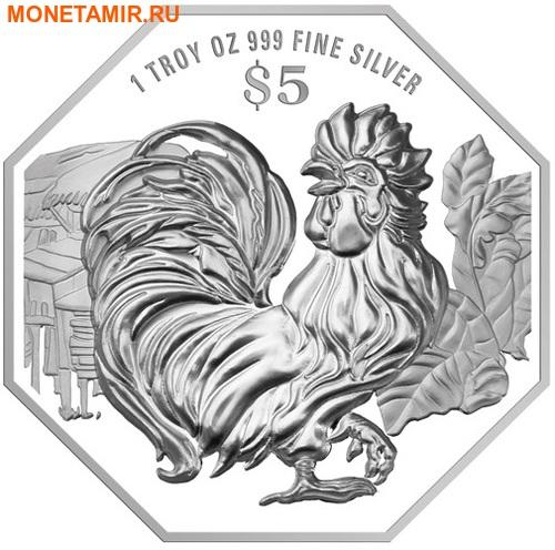 Сингапур 5 долларов 2017.Год Петуха – Лунный календарь.Арт.60 (фото)