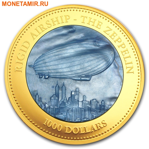 Острова Кука 1000 долларов 2013 Дирижабль Цеппелин Перламутр (Cook Isl 1000$ 2013 Rigid Airship The Zeppelin Mother of Pearl 5Oz Gold Coin Proof).Арт.60 (фото)