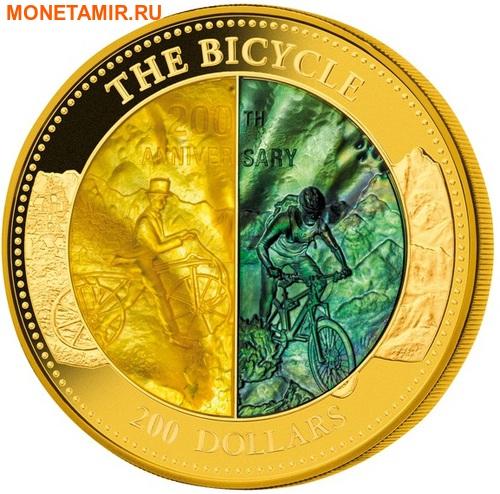Острова Кука 200 долларов 2017 Велосипед 200 лет Перламутр (Cook Isl 2017 200$ The Bicycle Mother of Pearl 5Oz Gold Coin Proof).Арт.65 (фото)