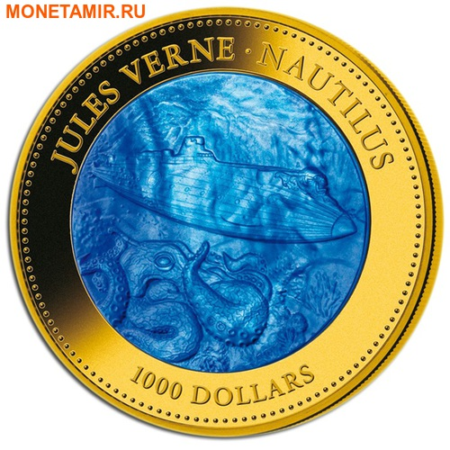 Острова Кука 1000 долларов 2014 Наутилус Жюль Верн Перламутр (Cook Isl 1000$ 2014 Nautilus Jules Verne Mother of Pearl 5Oz Gold Coin Proof).Арт.60 (фото)
