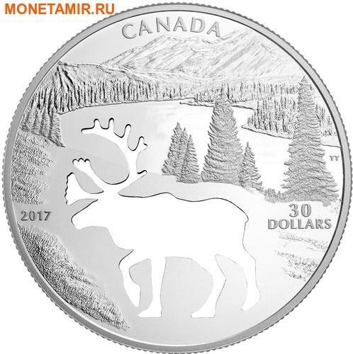 Канада 30 долларов 2017.Олень Карибу - Силуэт.Арт.60 (фото)