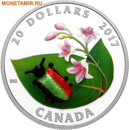 Канада 20 долларов 2017 Золотистый жук (Dogbane Beetle) Муранское стекло.Арт.60 (фото)
