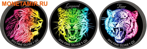 Соломоновы острова 3х2 доллара 2016 Неоновая коллекция – Лев Леопард Тигр (Solomon Isl. 3x2$ 2016 Black Neon Collection Lion Leopard Tiger).Арт.002147353575/60 (фото)