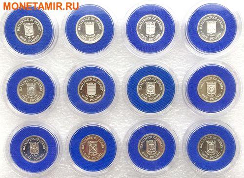 Джерси 12х1 фунт 1983-1989 Гербы (Набор 12 монет).Арт.000316312205/60 (фото)
