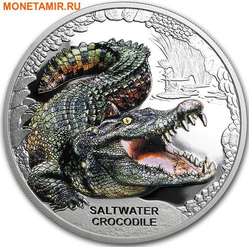 Тувалу 1 доллар 2018 Морской Крокодил Замечательные Рептилии (Tuvalu 1$ 2018 Remarkable Reptile Saltwater Crocodile 1 oz Silver Coin).Арт.000399654000/60 (фото)