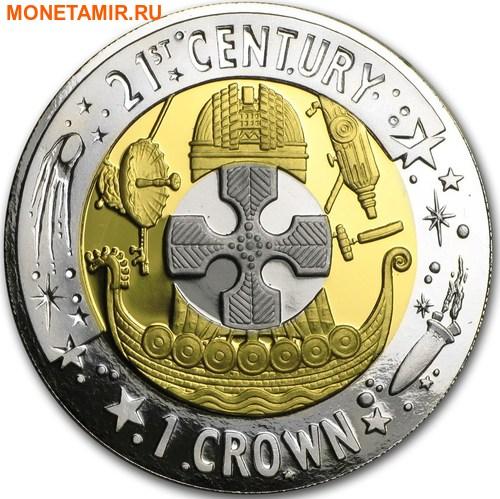 Гибралтар 1 крона 2001 Двадцать первый век Три металла.Арт.65 (фото)