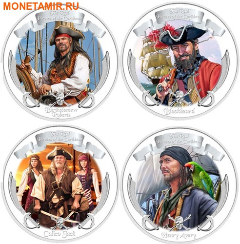 Ниуэ 4х2 доллара 2011 Пираты Карибского Моря.Арт.000978653905/60 (фото)